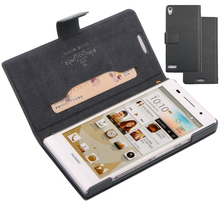 Genuine Brand Doormoon Original Side Turn Flip Real Leather Case Cover Skin For Huawei Ascend P6 10pcs/lot