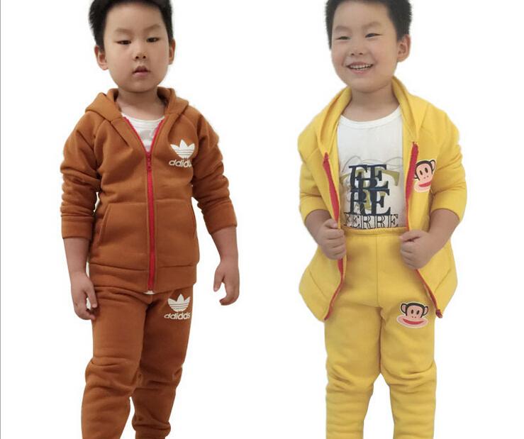 2015 New Kids Sports Sets Girls Boys Hoodies Autumn Long Sleeve Pants ,Cotton Chidren Clothing Zipper Coat Running Sweater(China (Mainland))