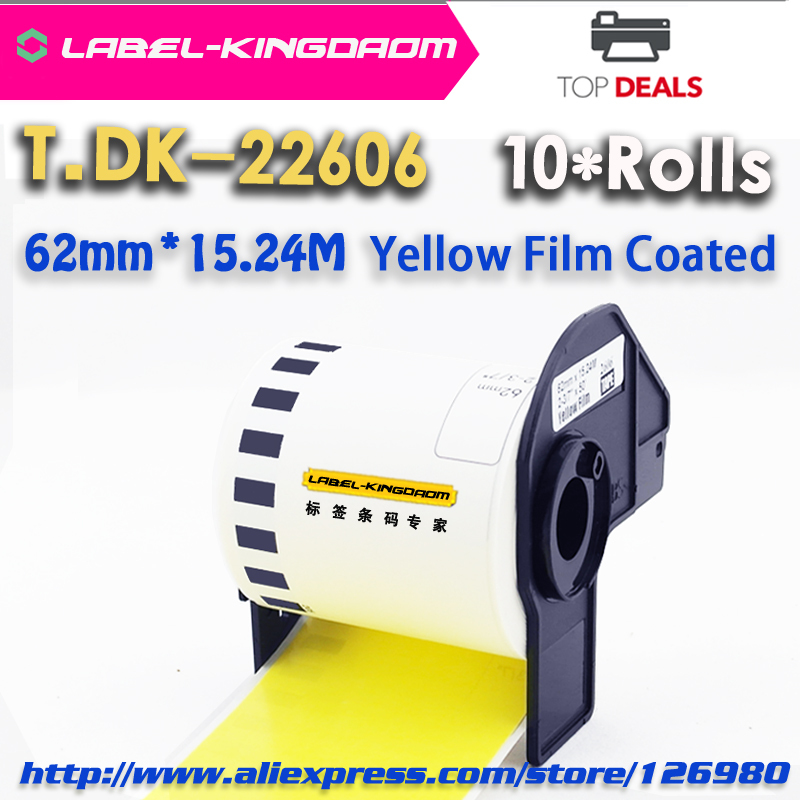 10 Rolls Brother Generic DK-22606 Yellow Film Labels DK-2606 P-Touch 62mm*15.24M QL-700 Thermal Sticker(China (Mainland))