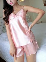 Rendas entalhe laciness sexy espaguete calções correia de frete grátis Women twinset salão sleepwear feminino