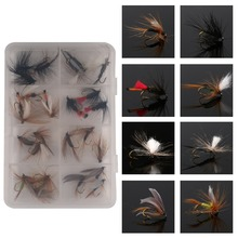 FREE SHIPPING  24Pieces Mixed Fly Tying Fishing Hook Fishing Hooks Pack/set Feather Bait Hook Dry Fish Hook Fly Flies
