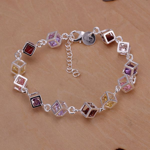 VSBC343 Fashion Jewelry 23*0.8cm Great Quality Silver Plated Rainbow Crystals Cube Bracelets for women wholesale(China (Mainland))