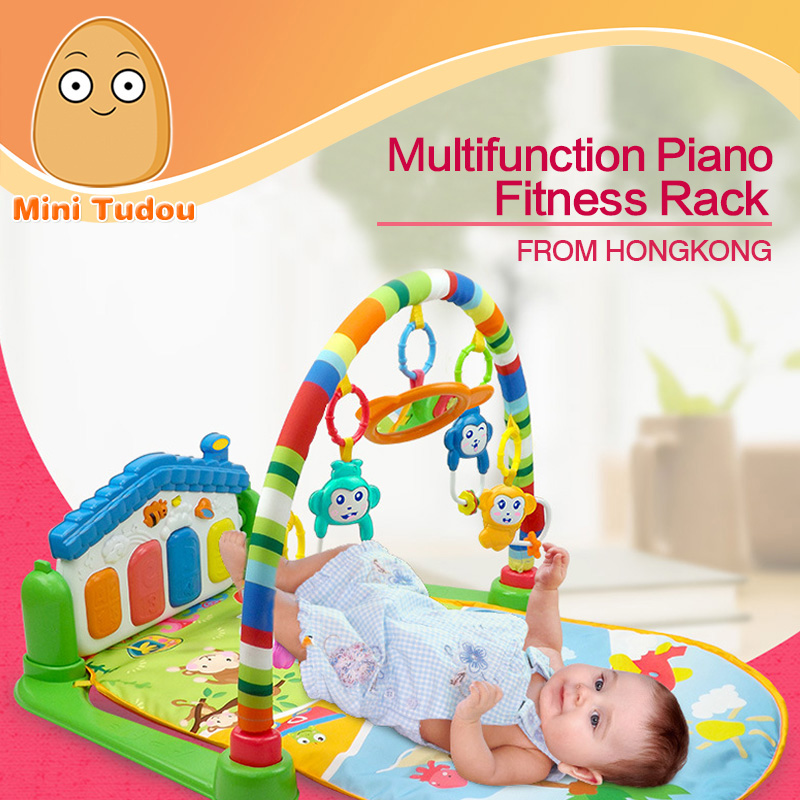 Minitudou Newborn Baby Multifunction Piano Fitness Rack With Music Rattle Infant Activity Play Mat Children Educational Toys(China (Mainland))