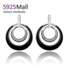 wholesale jewelry Gold Plated Earrings For Women New Fashion round circle Jewelry enemale black stud earring lady wedding gift(China (Mainland))