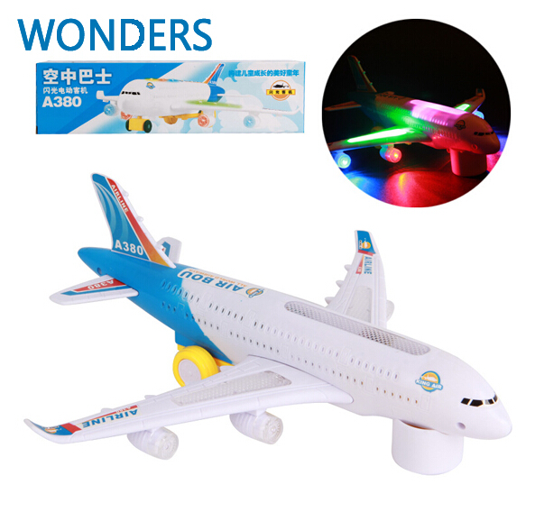 A380 Air Bus Airline Bump & Go Airplane Flashing Sound Moving Light Music Toy Plane(China (Mainland))