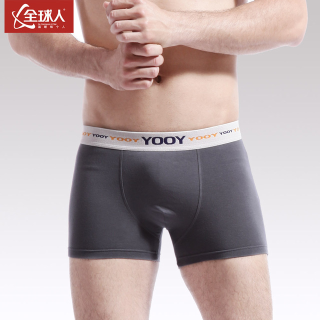 3 men's 100% cotton mid waist boxer panties male u mid waist 100% cotton four angle shorts