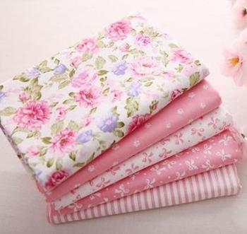 5 pcs 40cm*50cm Pink 100% Cotton Fabric For Sewing Fat Quarter Quilting Patchwork Tissue Tilda Doll Cloth Kids Bedding Textile