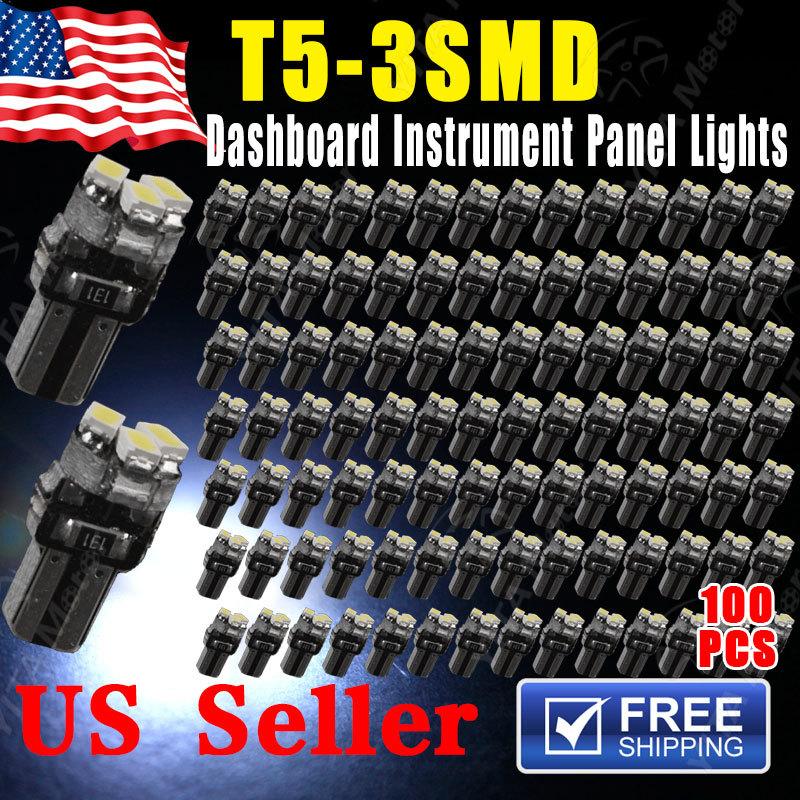 Super Discount Car LED T5 3led smd 1206 Wedge LED Light Bulbs 3SMD Super White 12V 6000K Interior Indicator Light leds for Cars(China (Mainland))