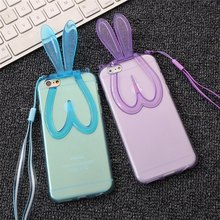 3D Lovely Rabbit Ears Soft Stand Case For iphone 6 6S 4.7″ / 6 6S Plus 5.5″ 5 5S 4 4S Back Phone Bags Cases Clear Silicon TPU