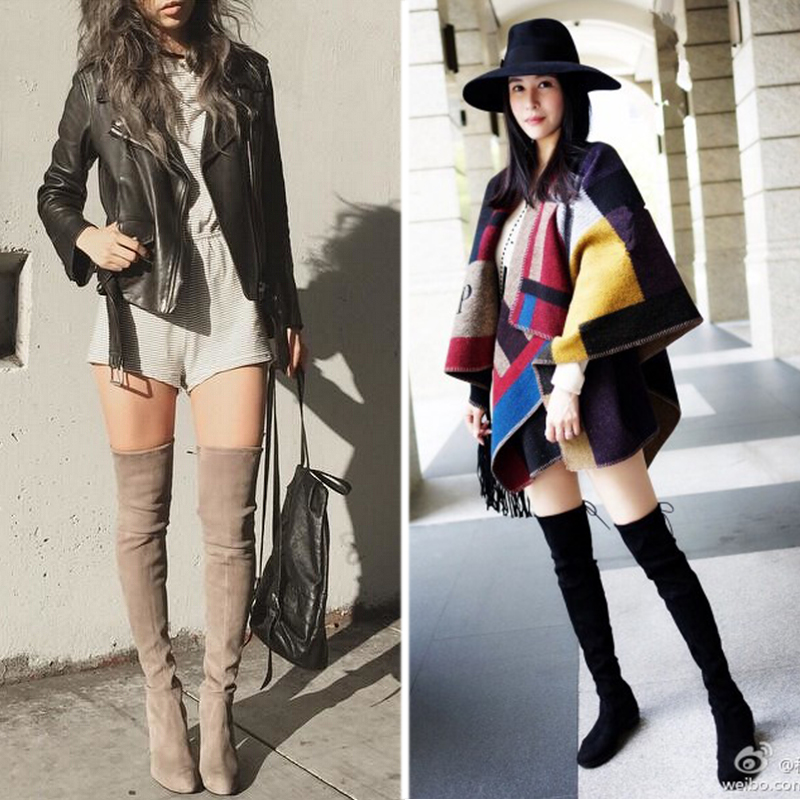 Wine Red Green Grey Suede Long Fall Winter Over The Knee Thigh High Flat Low Heel Boots With Black Lace Up Stretch Fabric Women<br><br>Aliexpress