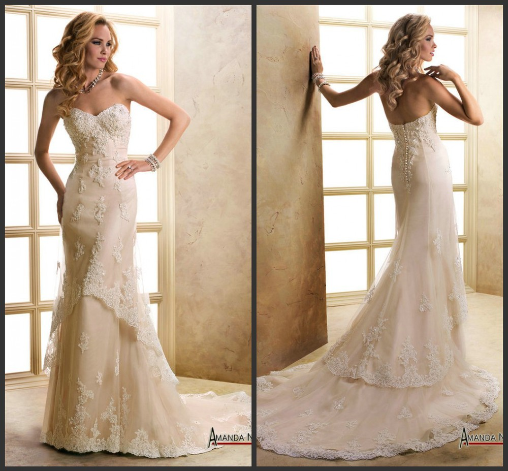 Champagne lace strapless wedding dress for Wedding dress champagne lace