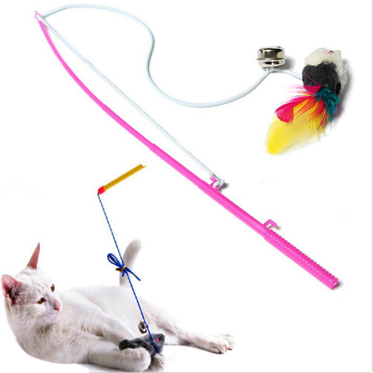 Pet cat toy Cute Design Steel Wire Feather Teaser Wand Plastic Toy for cats Color Multi Products For pet Free shipping(China (Mainland))