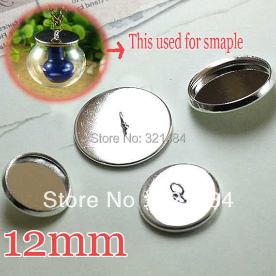 Rhodium plated 500pcs Caps Covers For glass bottle vials pendant DIY 12mm Blank Base Setting WHOLESALE