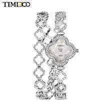New TIME100 Women's Quartz Watches Lucky Four-leaf Clover Diamond Case Steel Strap Bracelet Watches For Women relogio feminino