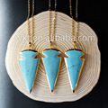 WT N489 Unique design turquoise spear arrowhead necklace with gold plated