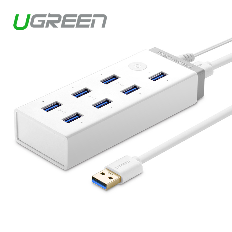 Ugreen super Speed USB 3.0 Charging Hub 7 port with 12V 4A Power Adapter with BC1.2 Support USB Drive / Smartphone / Tablet(China (Mainland))