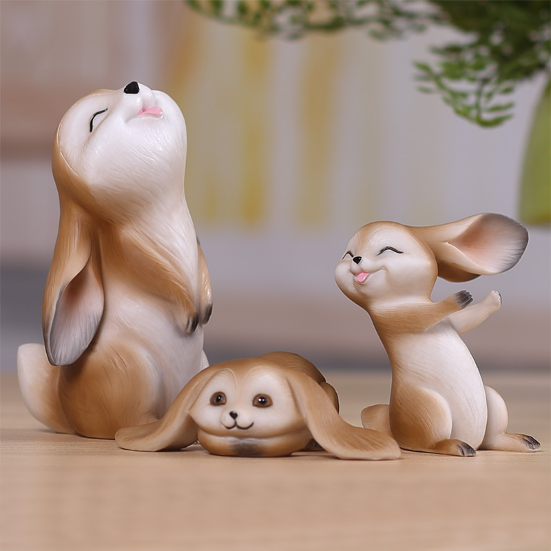 Rabbit Animal Resin Crafts Decoration Creative Gift Room Bookcase Decor Lovely Small Ornaments Home Furnishing Gradevin(China (Mainland))