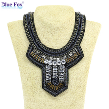 New Exclusive C Necklace Vintage National style Chunky Short-necked Necklaces for women Blue fox Jewelry BF-W003(China (Mainland))