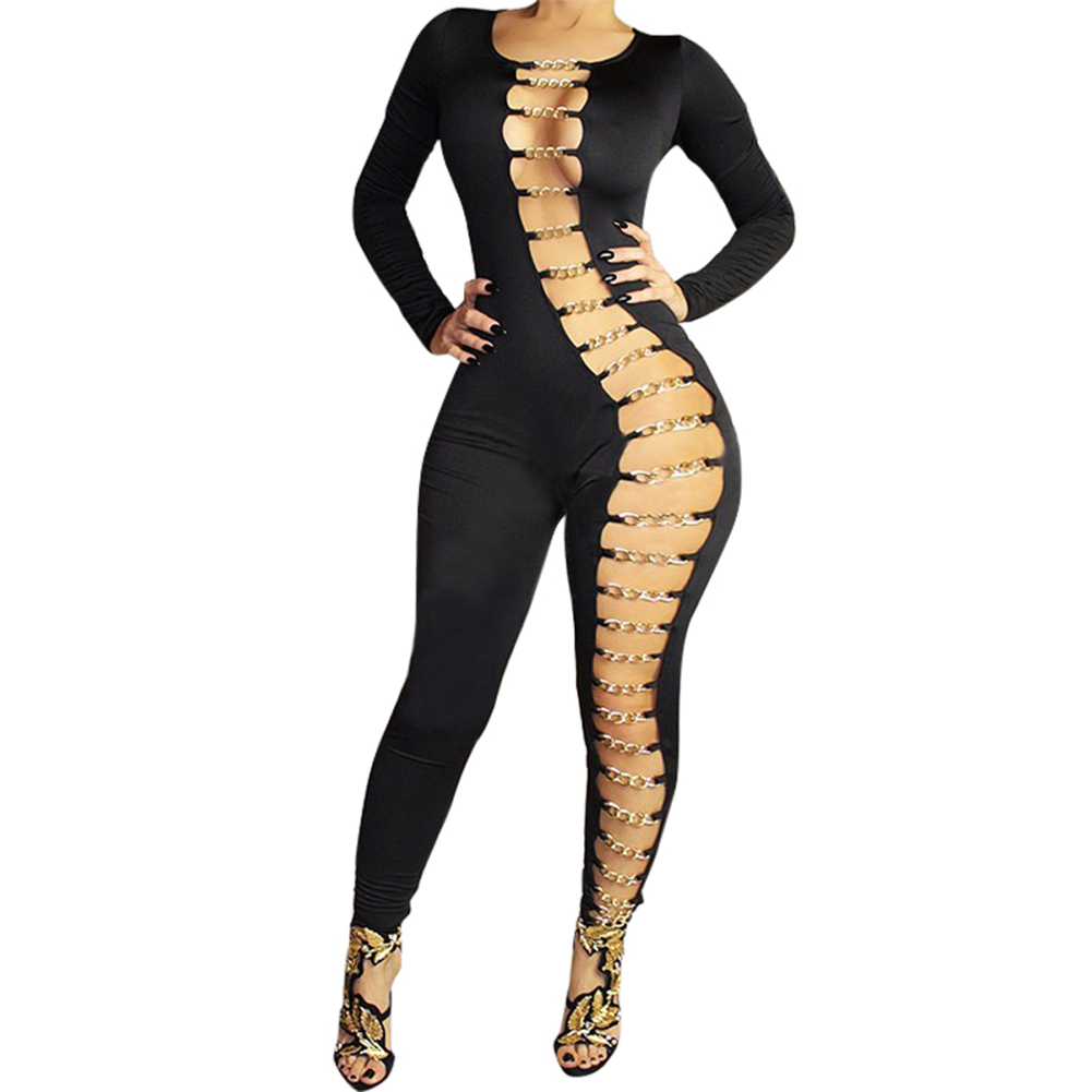 Lastest Sexy Jumpsuit For Women Long Sleeve O Neck Hollow Out Jumpsuits Woman