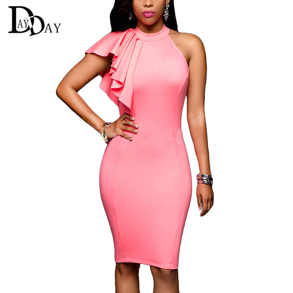 2016 Fashion Arrival Summer Women Sexy Dresses Pink ...