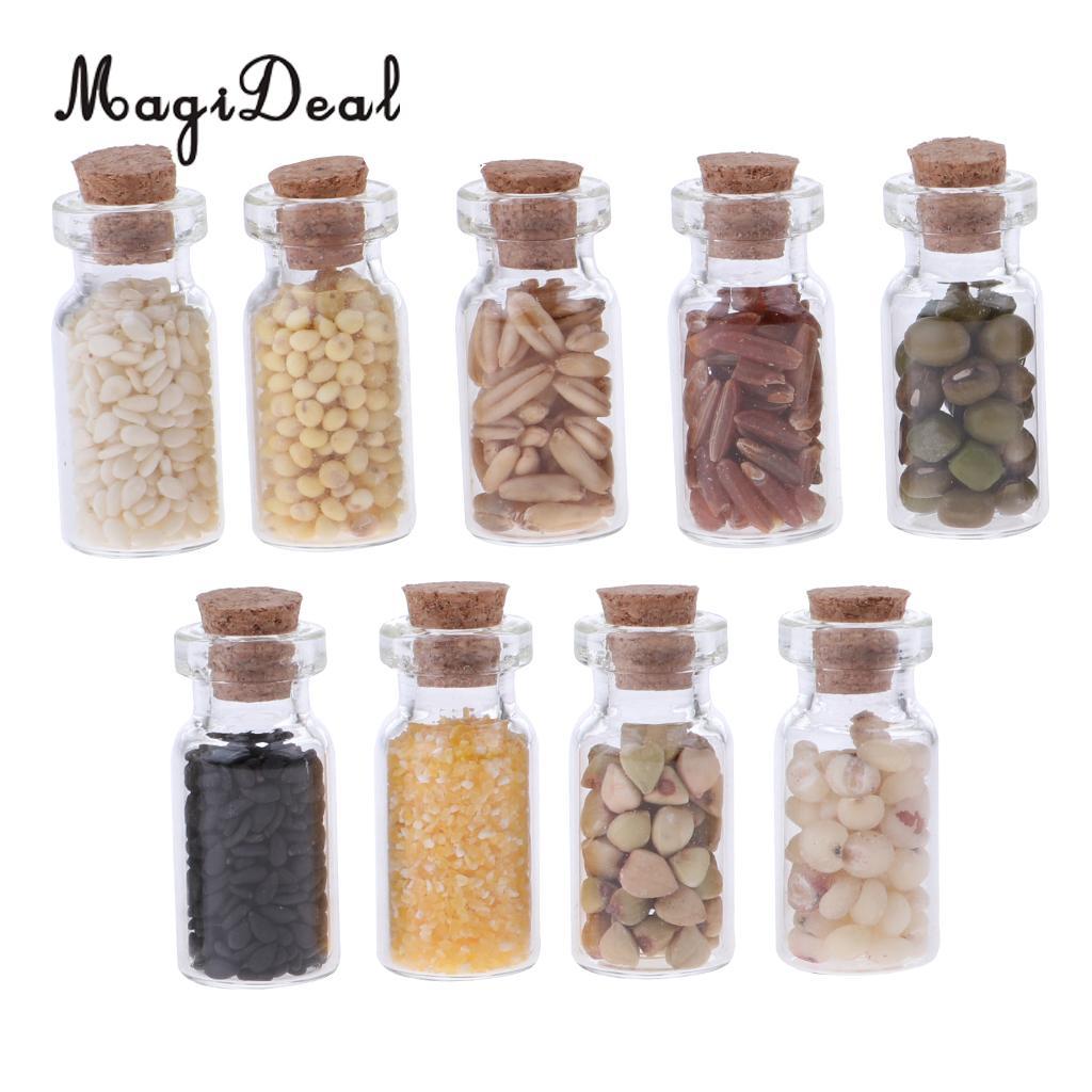 10Pcs 1:12 Dollhouse Miniature Glass Bottle Jars Food Storage Kitchen AccessCW0E