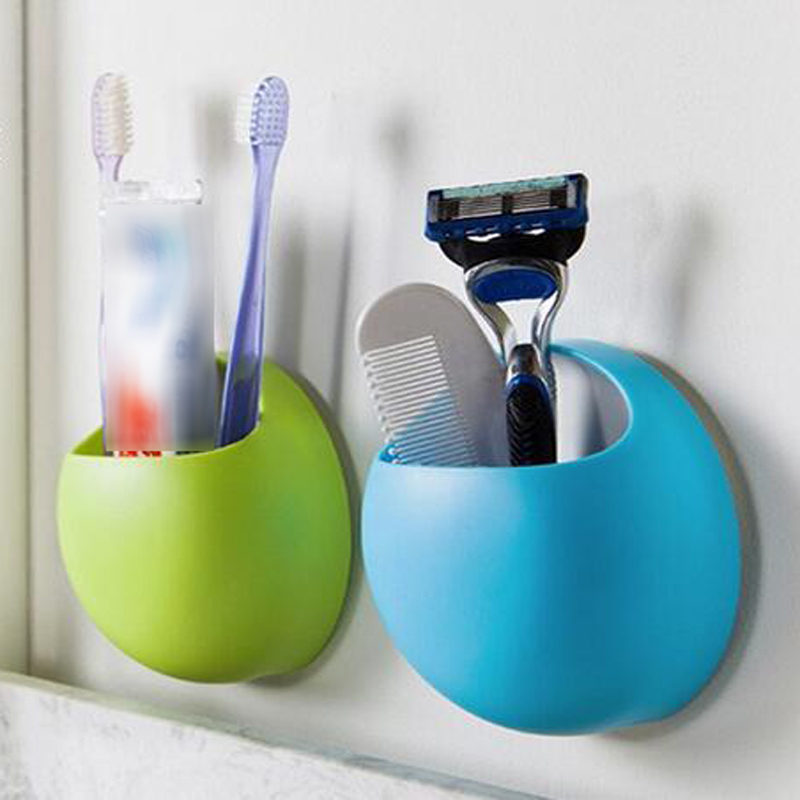 Cute toothbrush holder suction hooks cups organizer for Bathroom accessories electric toothbrush holder
