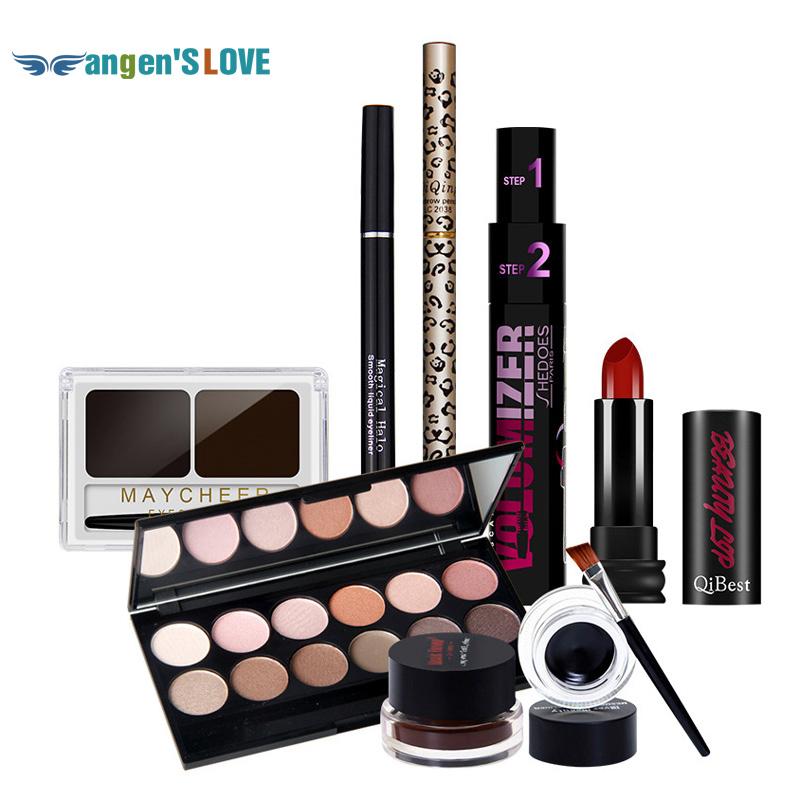 Qibest Eyes Makeup Set Mascara + Eyeliner + Eyeshadow + Eyelash Makeup Brush Magical Halo Mascara + lip gloss + Eyelash Powder(China (Mainland))