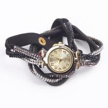 Women's Dial Crystal Band Sparkling Wave Bracelet Analog Quartz Wrap Wrist