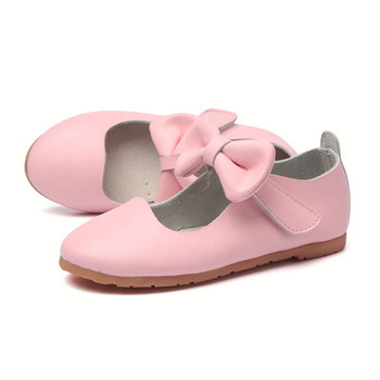 2016 Spring New Design Butterfly-knot Children Girls Leather Shoes Ankle Straps Toddlers Leather Shoes Size 6.5-10