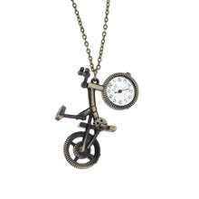 Retro Mini Bronze Bike Bicycle Design Quartz Pocket Watch Pendant Necklace Chain Free Shiping Key Chains