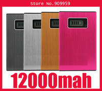 High quality 12000mAh Universal External Battery Charger Portable Power Bank for iphone and most of smart phones