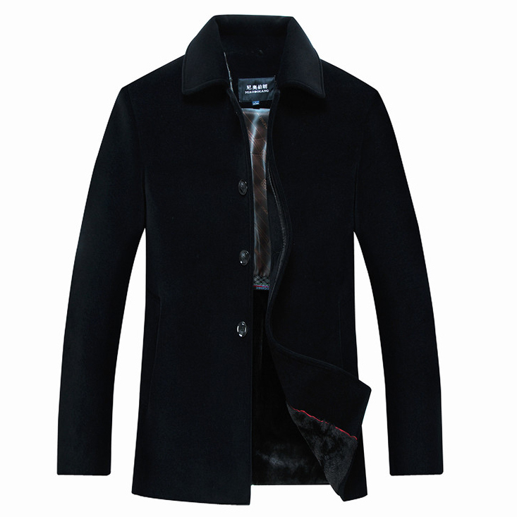 Quality Brand Men's Woolen Coats Middle-aged Single Breasted Winter Wool Jackets Coats Men Cashmere Overcoat Casual Outdoor(China (Mainland))