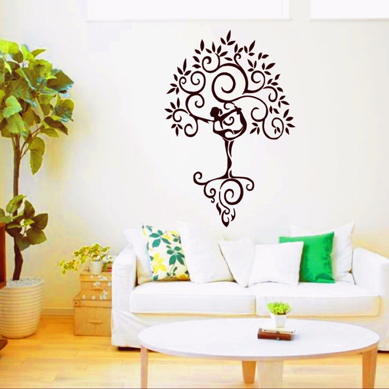 2016 New Yoga Tree Zen Big Large Wall Stickers For Living Room Wall Stickers Home Decor Removable Art Vinyl Wall Mural Decal DIY(China (Mainland))