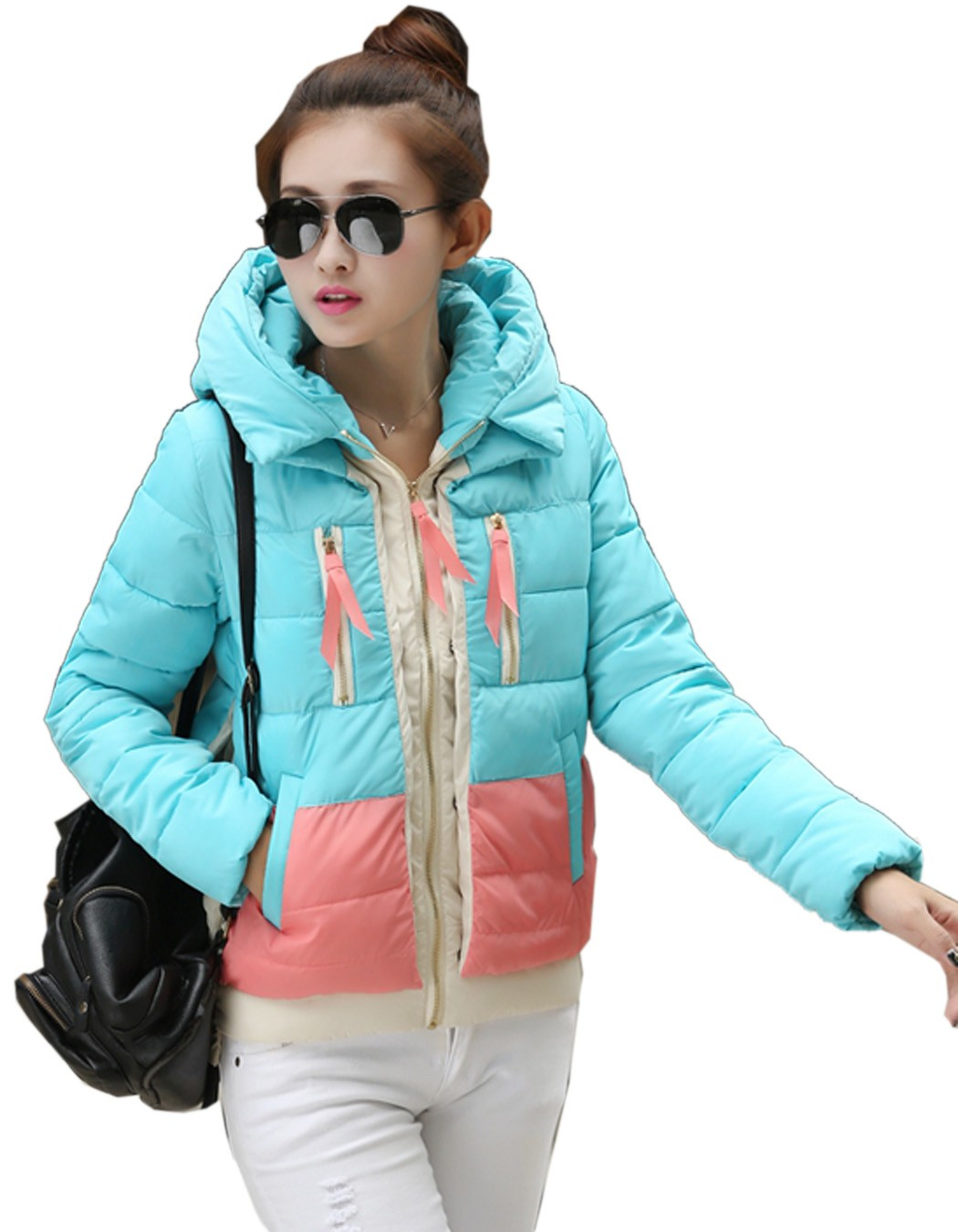 Best Price !2014 Women Winter Coat Fashion Color Splicing Parkas Thick Jacket Warm Hooded Down Coat 30(China (Mainland))