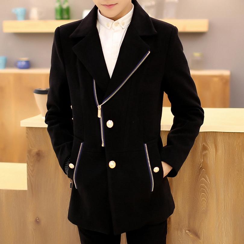 Slim Brand Jacket Mens Cashmere Coat Fashion 2015 New Korean Wool Coat Men Chaquetas Doble Hombre Pea Coats Men 4 Colors(China (Mainland))
