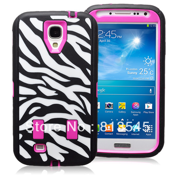 Nice looking colorful combo hard pc soft silicone hybrid zebra case for Galaxy S4 I9500(China (Mainland))