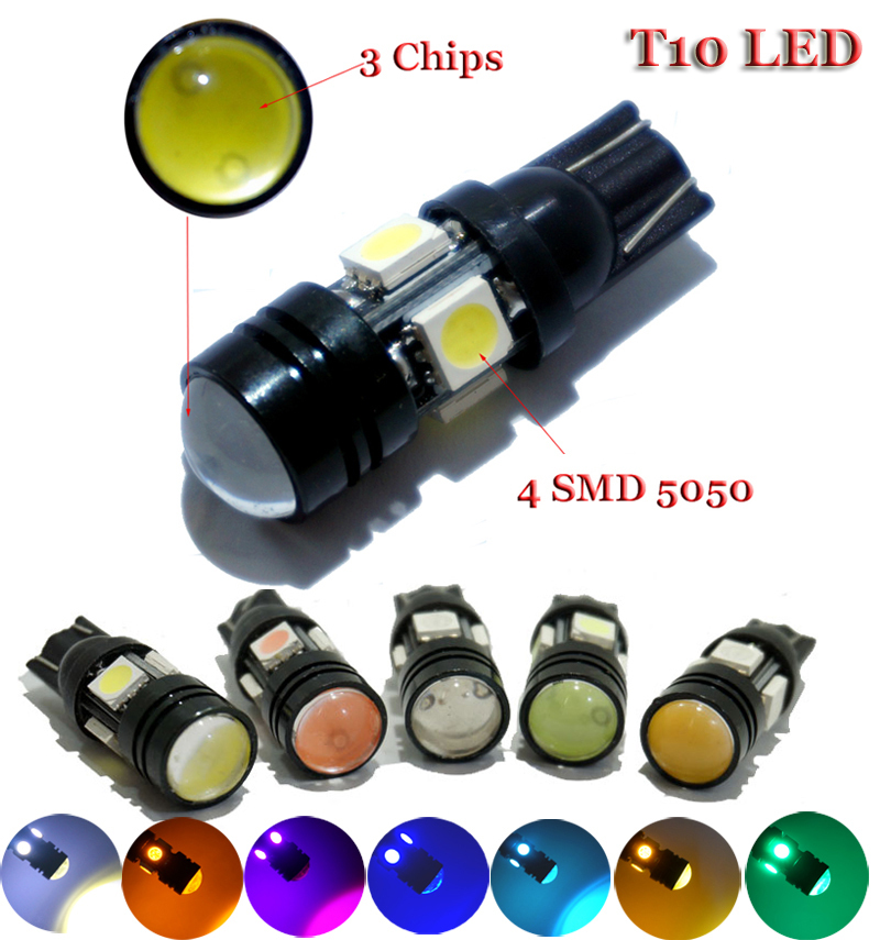 10pcs Super Bright T10 W5W LED Car Bulb Auto Parking Reverse Lamp With Projector Lens(China (Mainland))