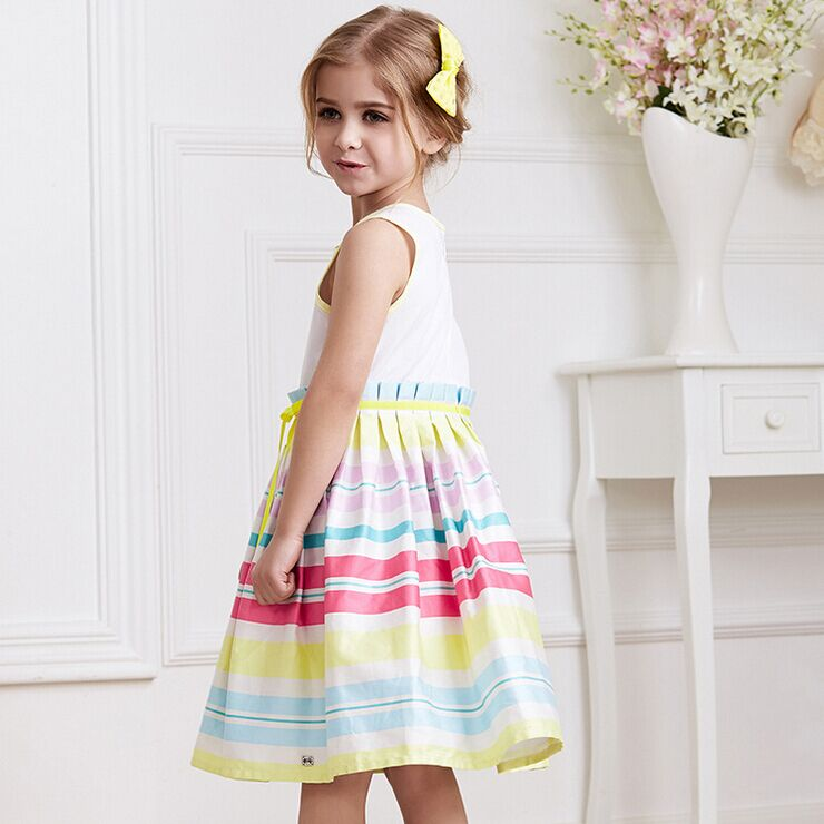 2015 New Children Summer Kids Skirt Rainbow Dress Cotton Colored Stripes Dress Lovely Sweet Girls Princess Dress Kids Dress<br><br>Aliexpress