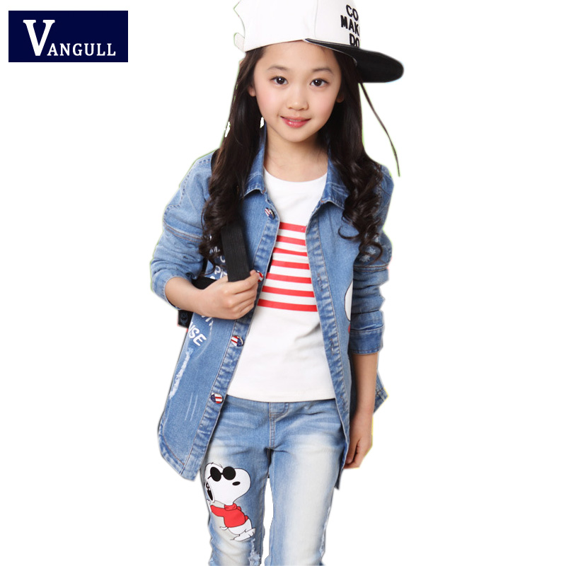 2017 Fall children's clothing wholesale manufacturers selling female children cowboy three piece children suit coat+pants+shirt(China (Mainland))