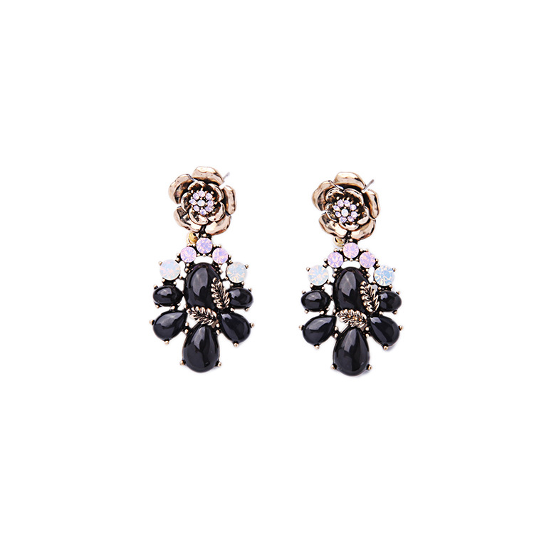 Dolce Convertible Statement Earrings Jet Black Resin Light Pink + White Ppal Crystal Rose Gardens Earrings(China (Mainland))