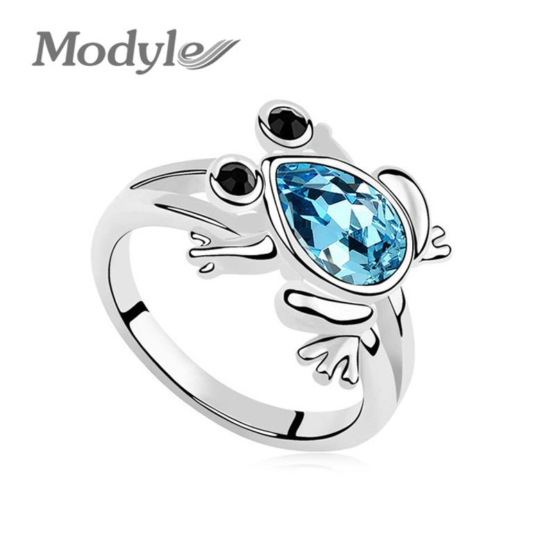 High Quality White Gold Plated Austrian Crystal Frog Prince Rhinestone Animal Rings Titanium Jewelry Womens(China (Mainland))