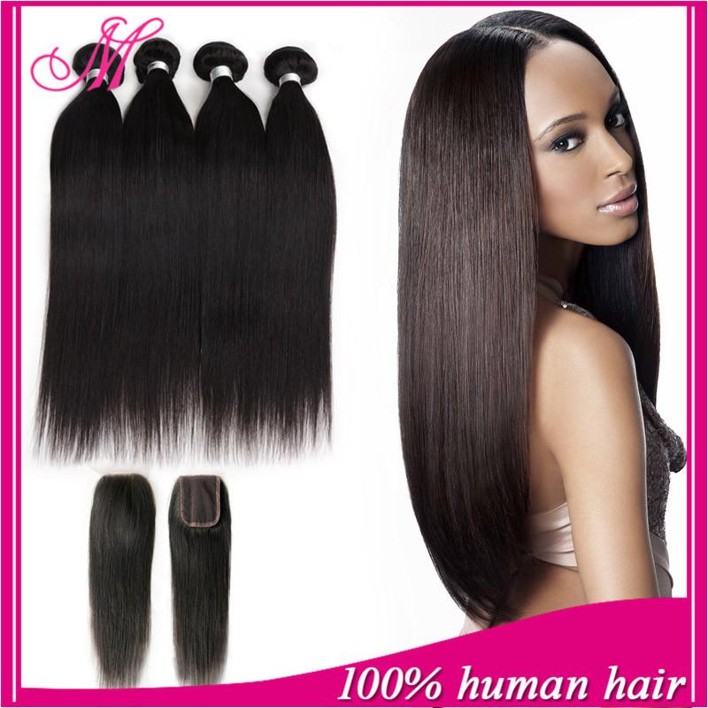 Peruvian Straight Virgin Hair With Closure HC Peruvian Virgin Hair With Closure 4 Bundles With Lace Closure Middle/Free/3 Part(China (Mainland))