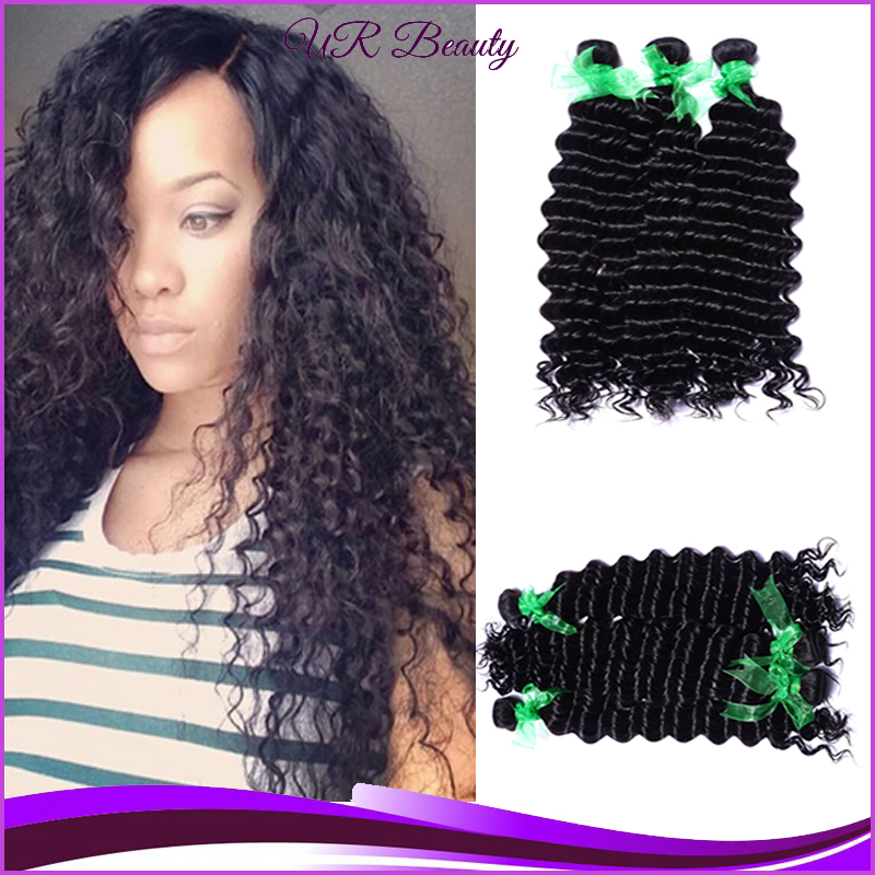 Black Hair 3Pcs Lot Deep Wave Crochet Hair Extensions Free Weave Hair ...