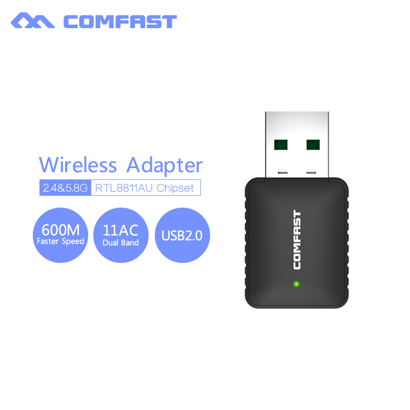 COMFAST High Gain 600Mbps USB WiFi Adapters Dual Band 5GHZ 2 dbi Antenna WiFi receptor de Signal Wireless pc internet Booster(China (Mainland))
