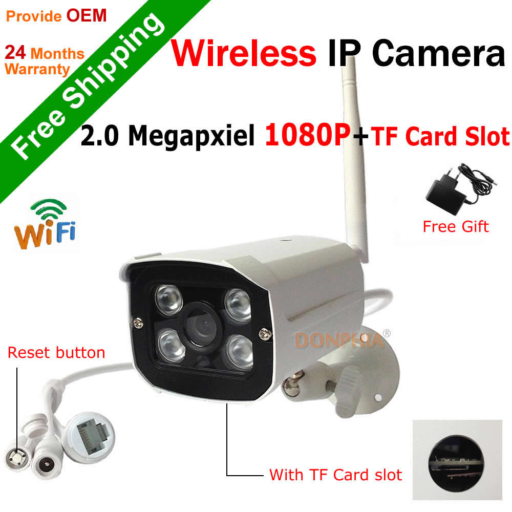 Full HD 1080P Wirelss IP Camera built in TF Card slot 2.0MP Outdoor Wifi camera support onvif motion detect 4pcs IR Night leds(China (Mainland))