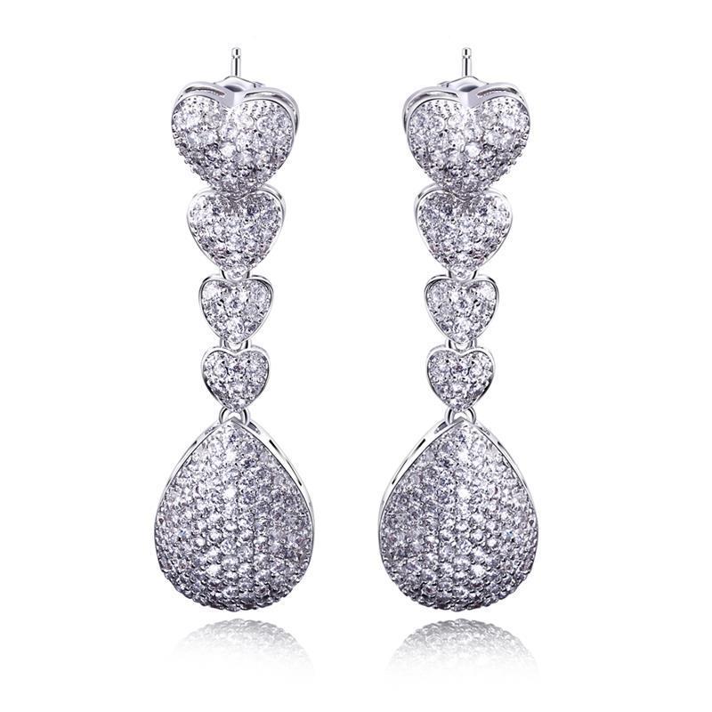 Buy Heart Earrings Women White Gold Plated Romantic Long