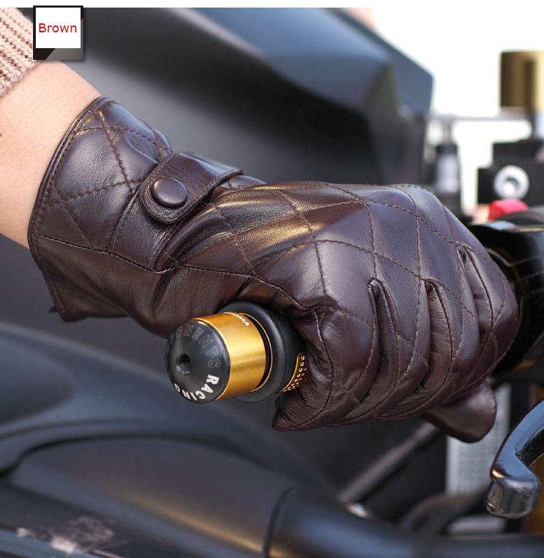 Winter Genuine Leather Glove For Men Short Black Suede Winter Glove Fashion S,M,L,XL Guante de cuero 1 Pair/lot(China (Mainland))