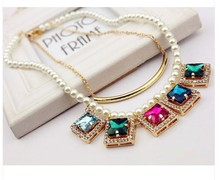 Wholesale Jewelry Imitation Pearl Chain Square Colorful Crystal Pendant Gold Plated Clavicle Choker Statement Necklace For Women(China (Mainland))