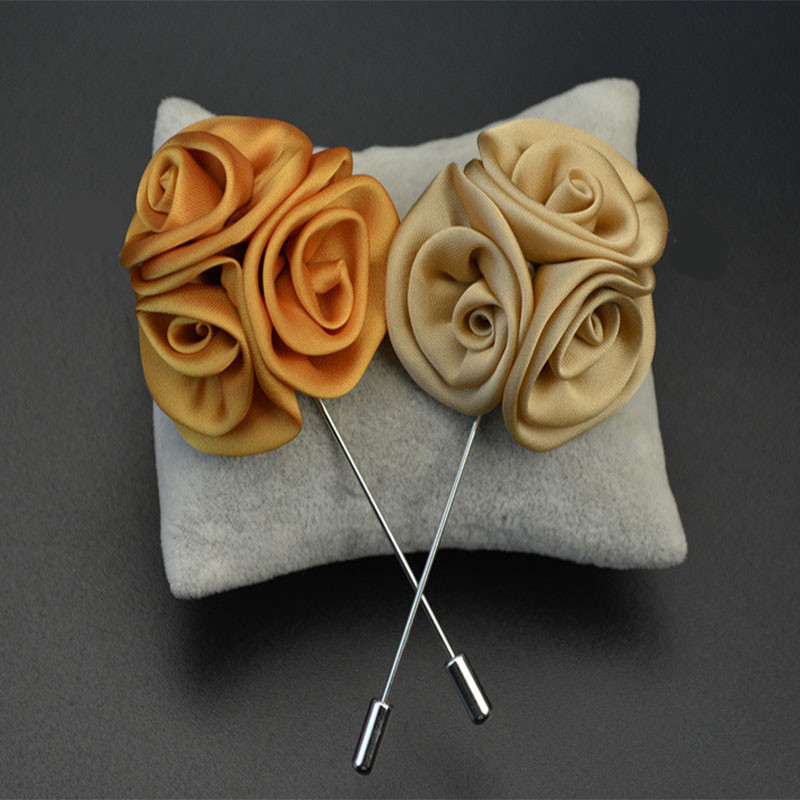 2015 Fashion Men Jewelry of Silk Flower Brooches Rose Cluster Floral Men Lapel Pins for Suits Handmade Boutonniere Brooch Pins(China (Mainland))