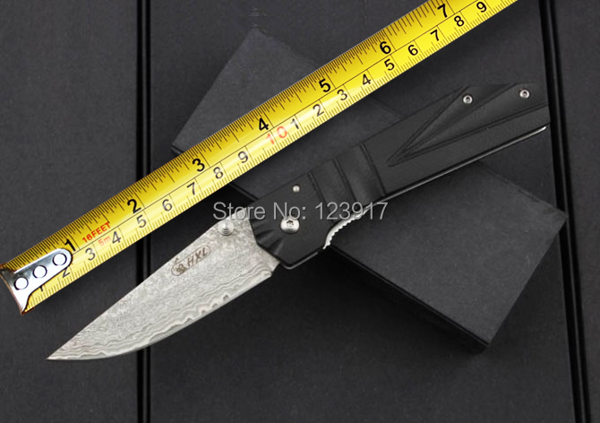 Hot Selling Damascus Folding Blade Knife,G10 Handle Camping Pocket Knife,Outdoor Survival Tools,High Quality(China (Mainland))
